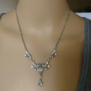 1928 Edwardian Style Silver Rhinestone Necklace